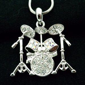 Drum Set Necklace Fine Crystals Musician Favorite